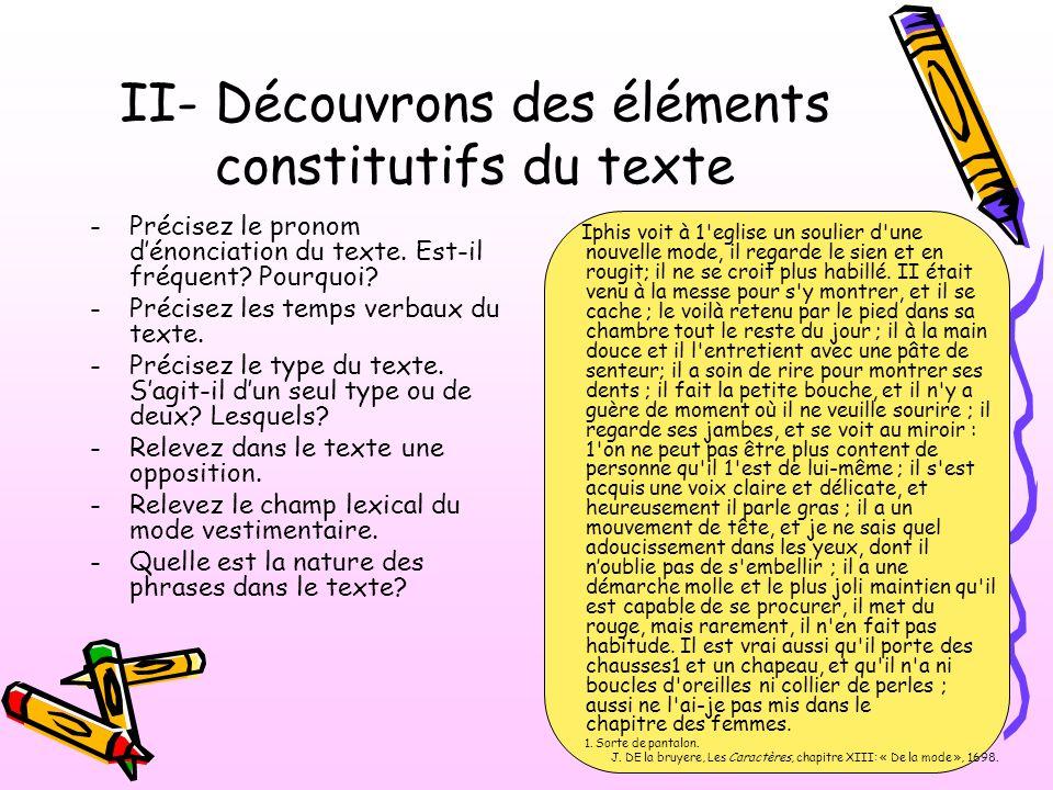 II- Découvrons des éléments constitutifs du texte