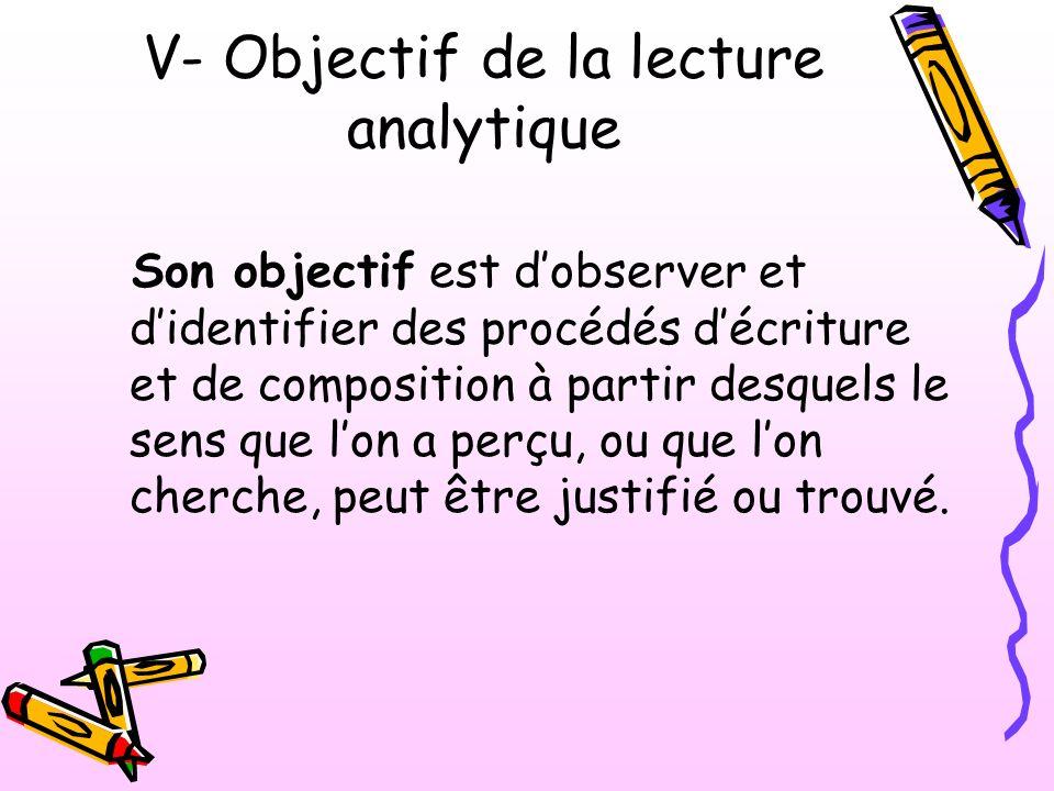 V- Objectif de la lecture analytique