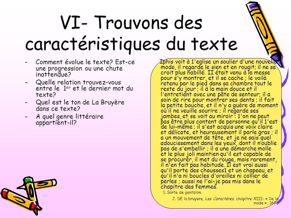VI- Trouvons des caractéristiques du texte