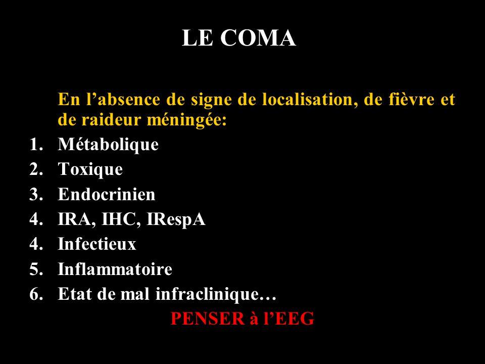 LE COMA En l'absence de signe de localisation, de fièvre et de raideur méningée: Métabolique. Toxique.