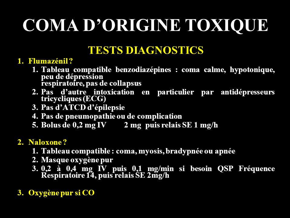 COMA D'ORIGINE TOXIQUE