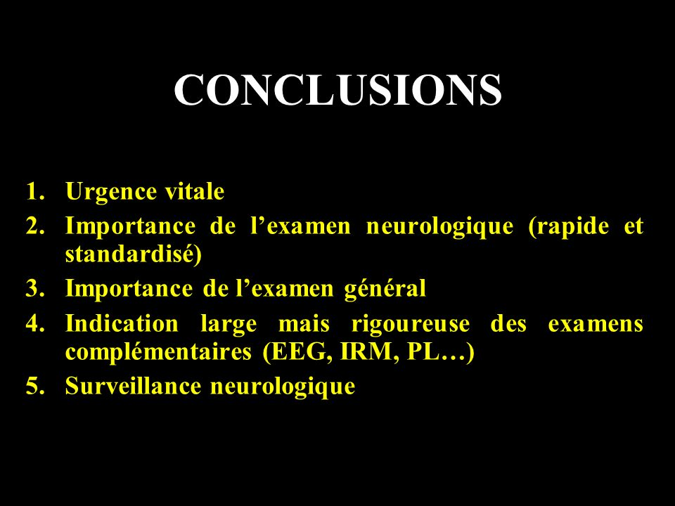 CONCLUSIONS Urgence vitale
