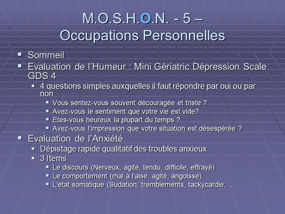 M.O.S.H.O.N. - 5 – Occupations Personnelles