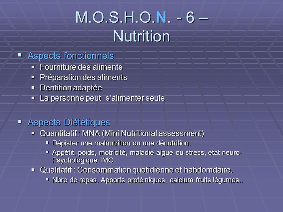 M.O.S.H.O.N. - 6 – Nutrition Aspects fonctionnels Aspects Diététiques