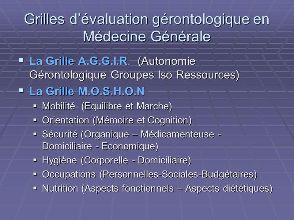 Grilles d'évaluation gérontologique en Médecine Générale