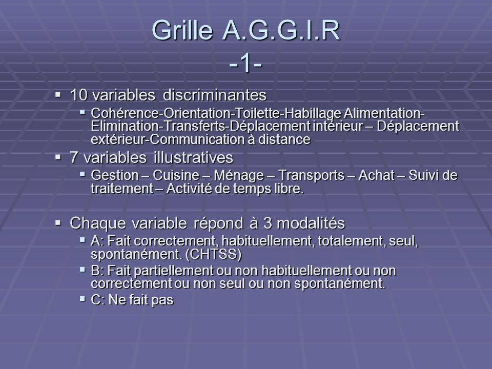 Grille A.G.G.I.R -1- 10 variables discriminantes