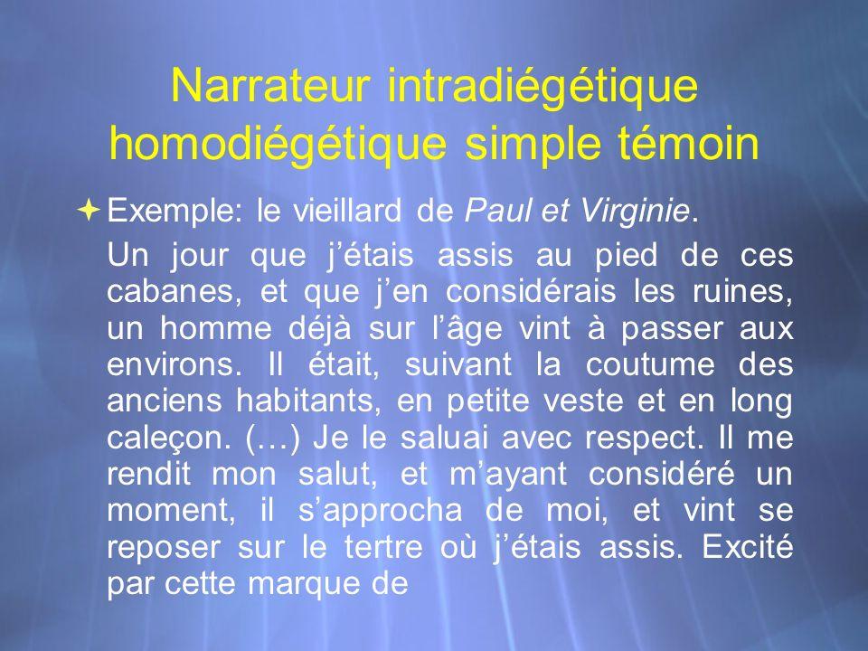 Narrateur intradiégétique homodiégétique simple témoin