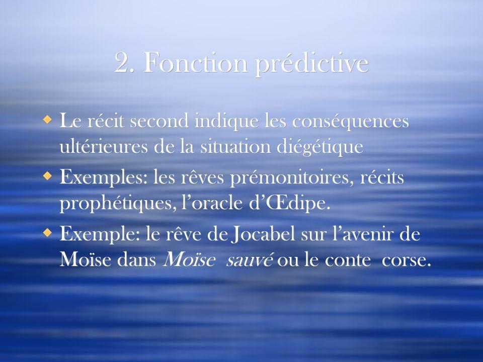 2. Fonction prédictive Le récit second indique les conséquences ultérieures de la situation diégétique.