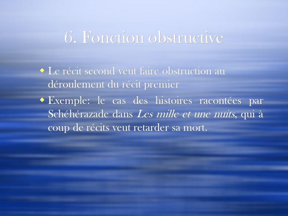 6. Fonction obstructive Le récit second veut faire obstruction au déroulement du récit premier.
