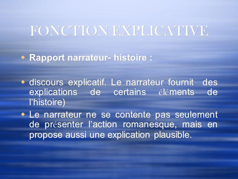 FONCTION EXPLICATIVE Rapport narrateur- histoire :