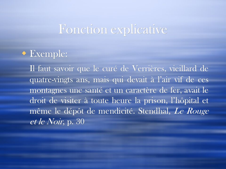 Fonction explicative Exemple: