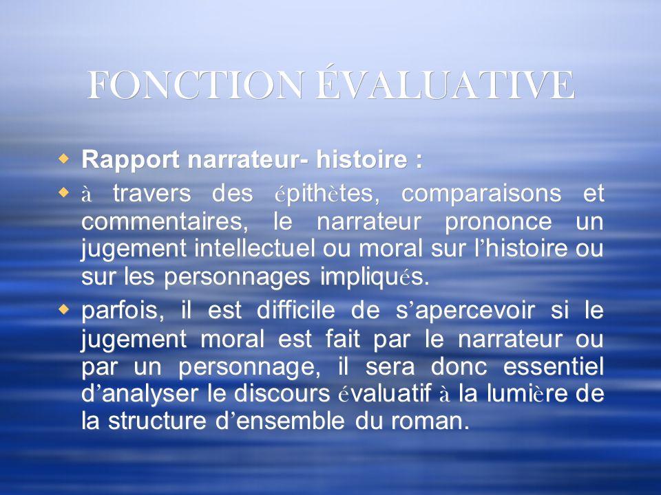 FONCTION ÉVALUATIVE Rapport narrateur- histoire :