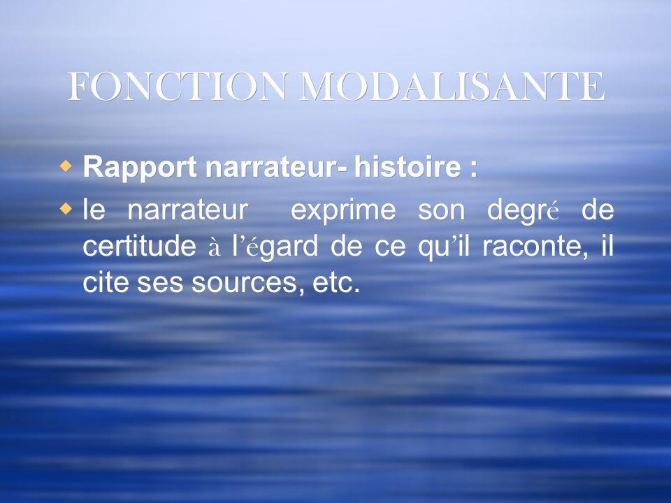 FONCTION MODALISANTE Rapport narrateur- histoire :