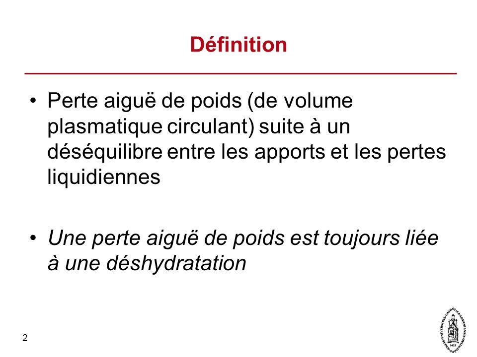 Définition Perte aiguë de poids (de volume plasmatique circulant) suite à un déséquilibre entre les apports et les pertes liquidiennes.