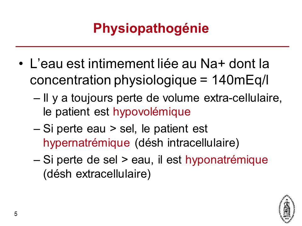 Physiopathogénie L'eau est intimement liée au Na+ dont la concentration physiologique = 140mEq/l.
