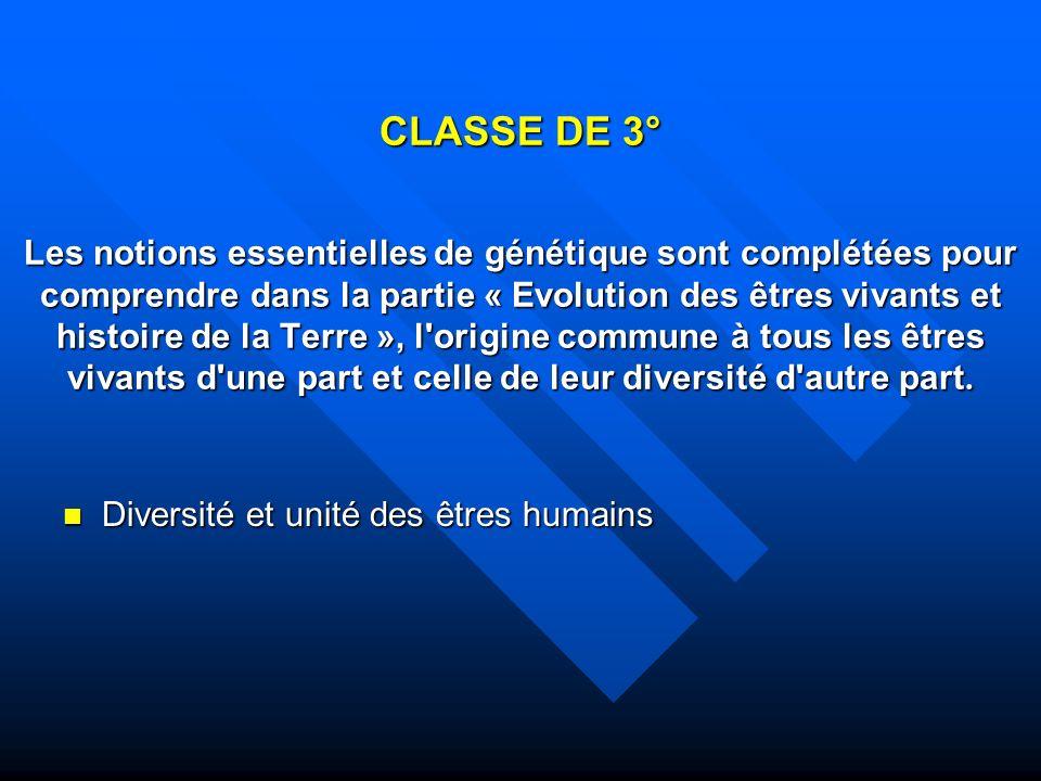 CLASSE DE 3° Les notions essentielles de génétique sont complétées pour comprendre dans la partie « Evolution des êtres vivants et histoire de la Terre », l origine commune à tous les êtres vivants d une part et celle de leur diversité d autre part.