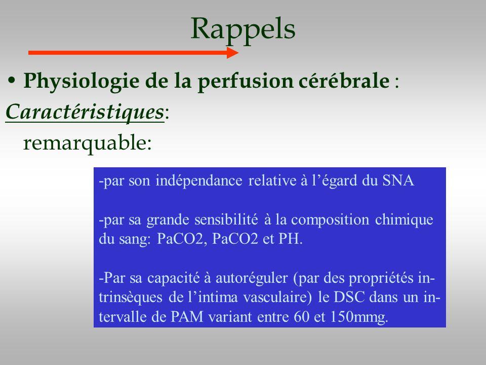 Rappels Physiologie de la perfusion cérébrale : Caractéristiques: