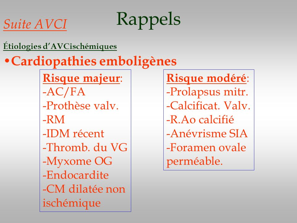 Rappels Suite AVCI Cardiopathies emboligènes Risque majeur: -AC/FA
