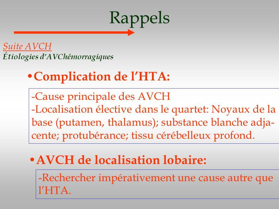 Rappels Complication de l'HTA: AVCH de localisation lobaire: