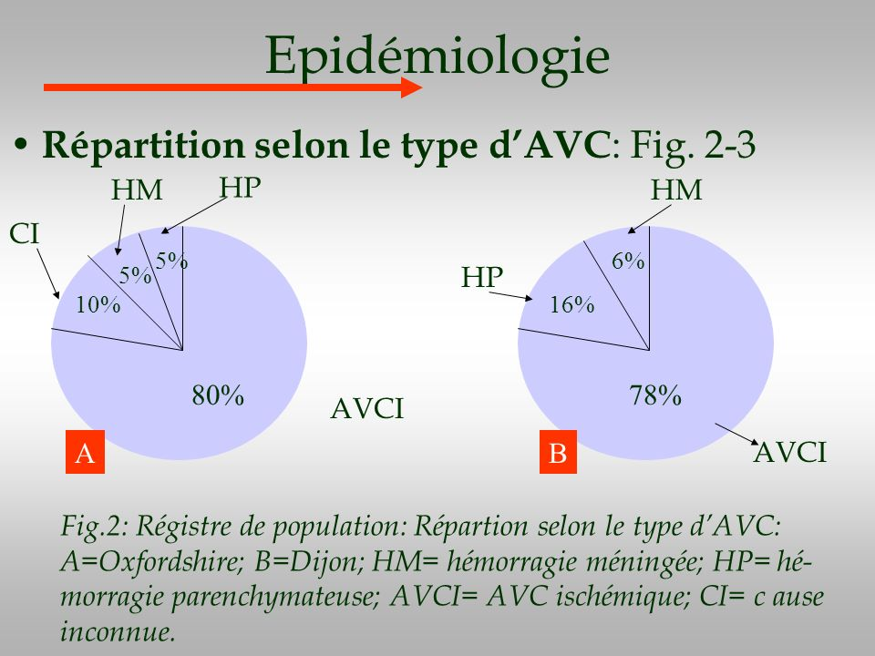 Epidémiologie Répartition selon le type d'AVC: Fig. 2-3 HM HP HM CI HP