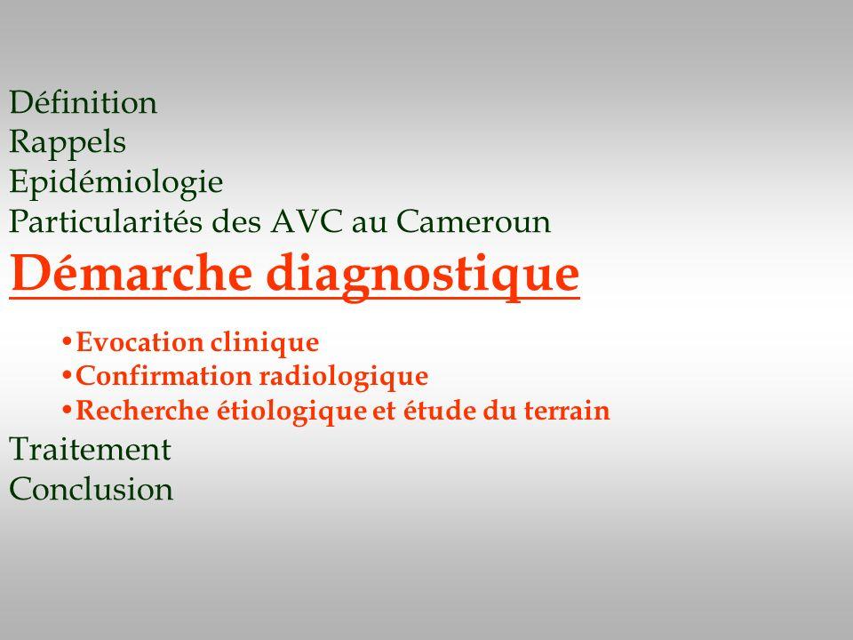 Définition Rappels Epidémiologie Particularités des AVC au Cameroun Démarche diagnostique Traitement Conclusion