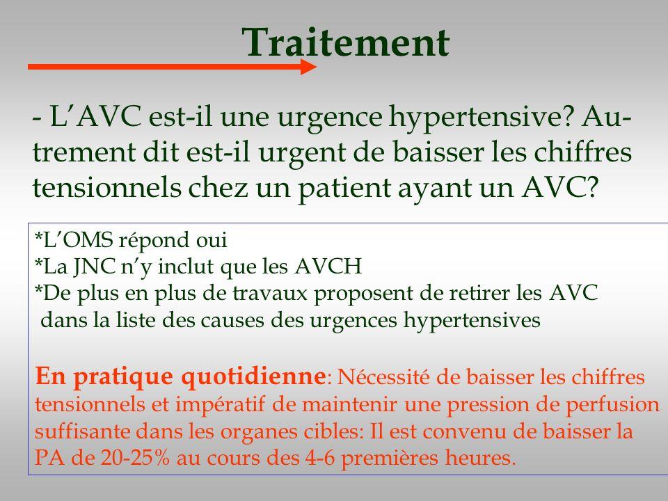 Traitement - L'AVC est-il une urgence hypertensive Au-trement dit est-il urgent de baisser les chiffres tensionnels chez un patient ayant un AVC