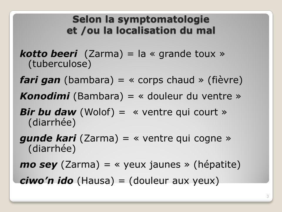 Selon la symptomatologie et /ou la localisation du mal