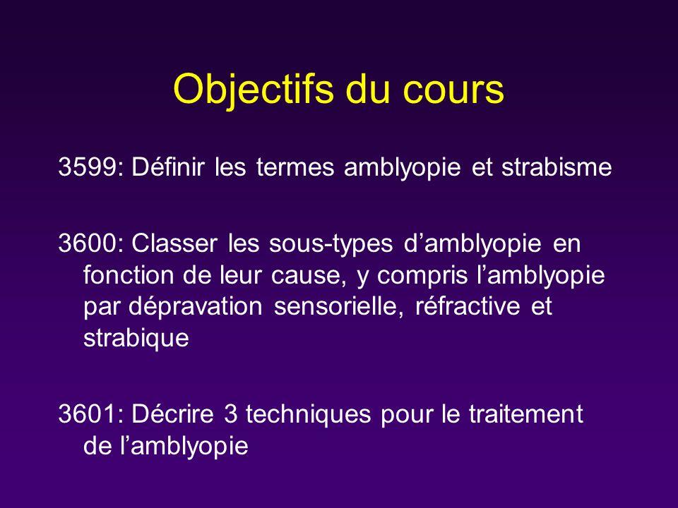 Objectifs du cours 3599: Définir les termes amblyopie et strabisme