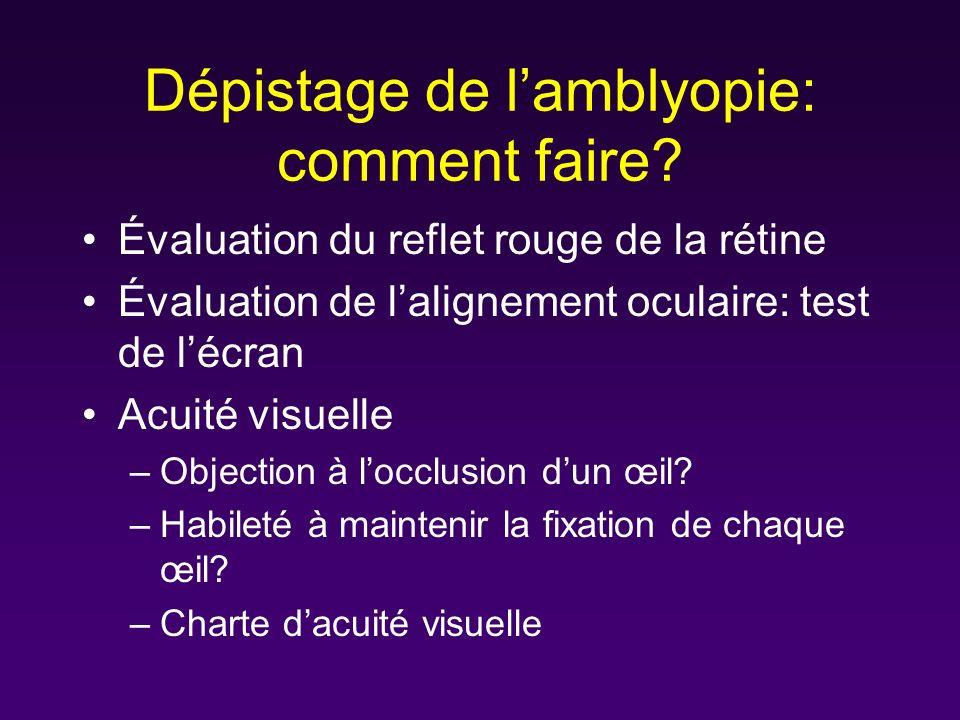 Dépistage de l'amblyopie: comment faire
