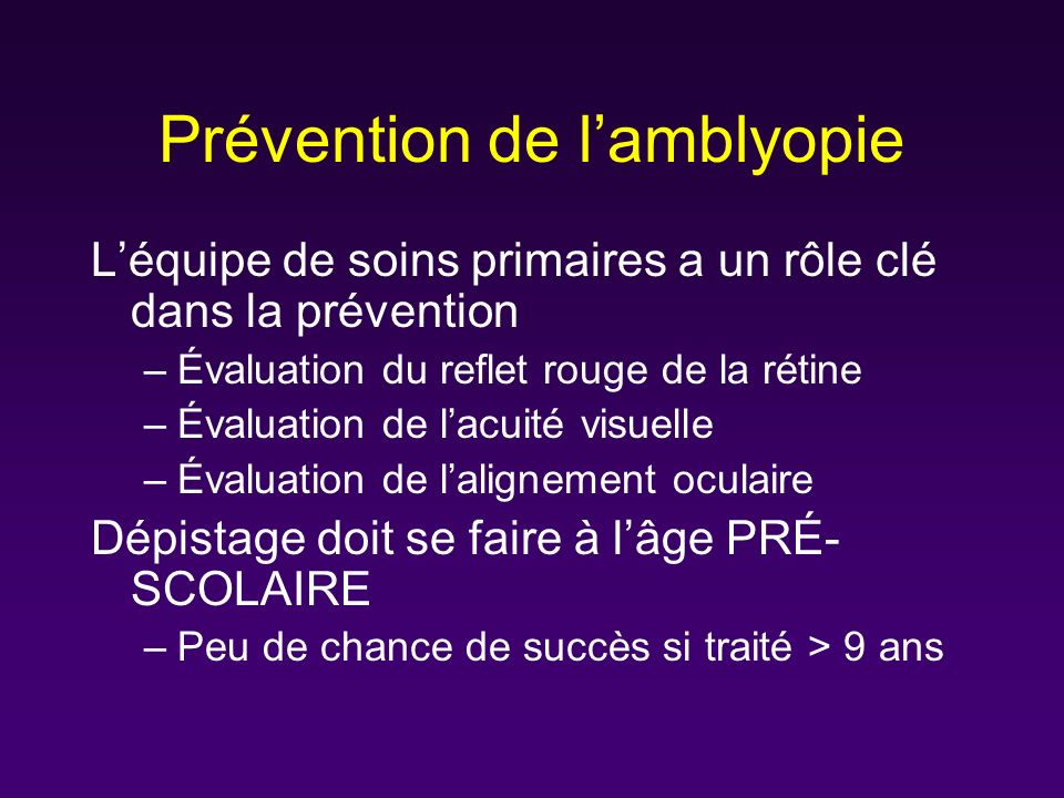 Prévention de l'amblyopie