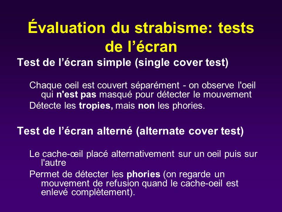 Évaluation du strabisme: tests de l'écran