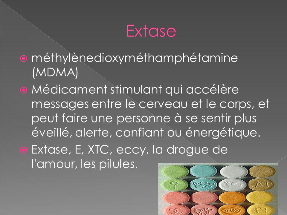 Extase méthylènedioxyméthamphétamine (MDMA)