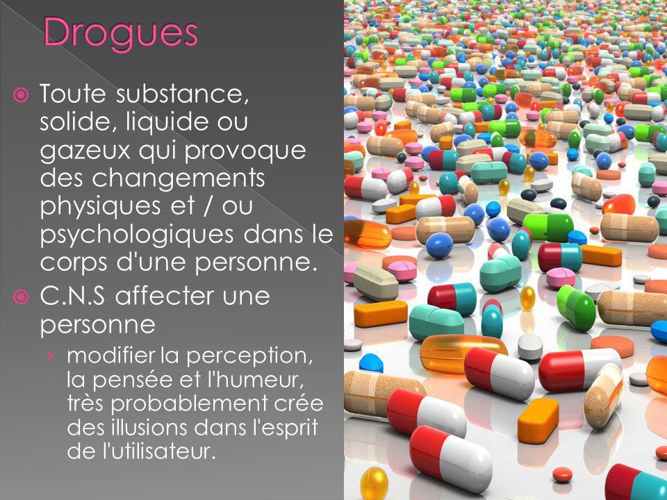 Drogues Toute substance, solide, liquide ou gazeux qui provoque des changements physiques et / ou psychologiques dans le corps d une personne.