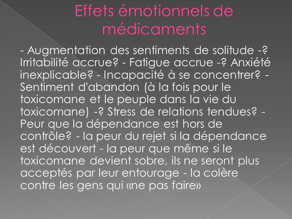 Effets émotionnels de médicaments
