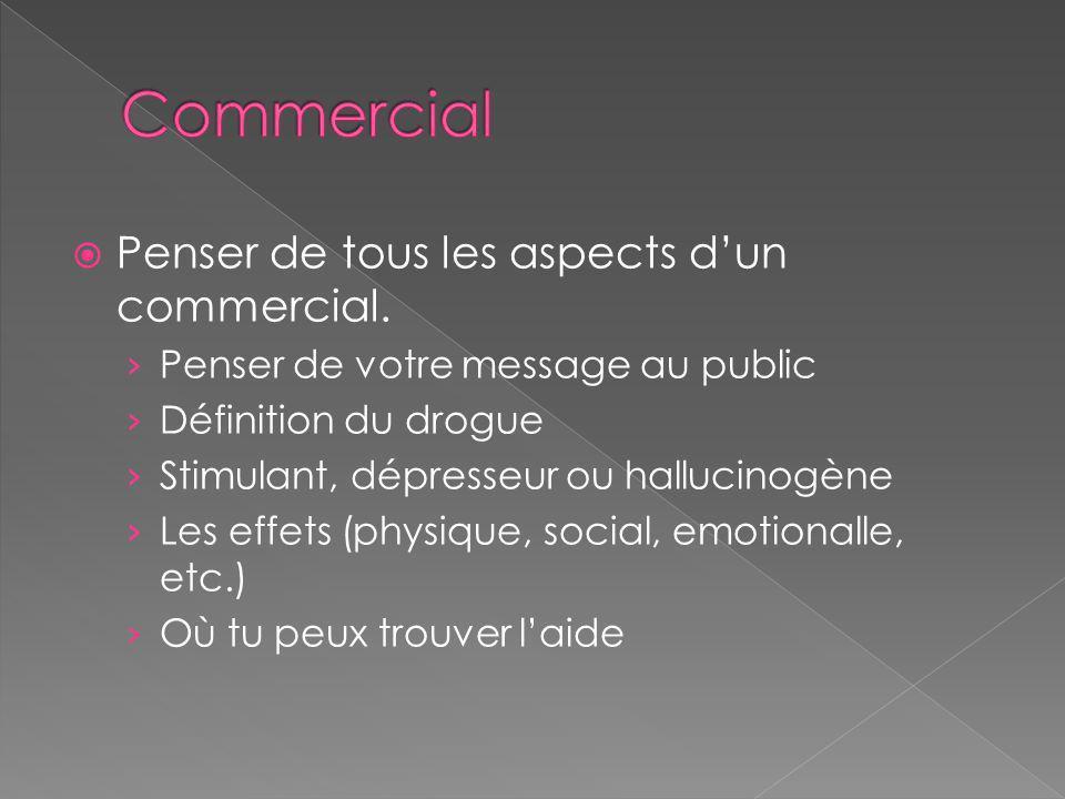 Commercial Penser de tous les aspects d'un commercial.