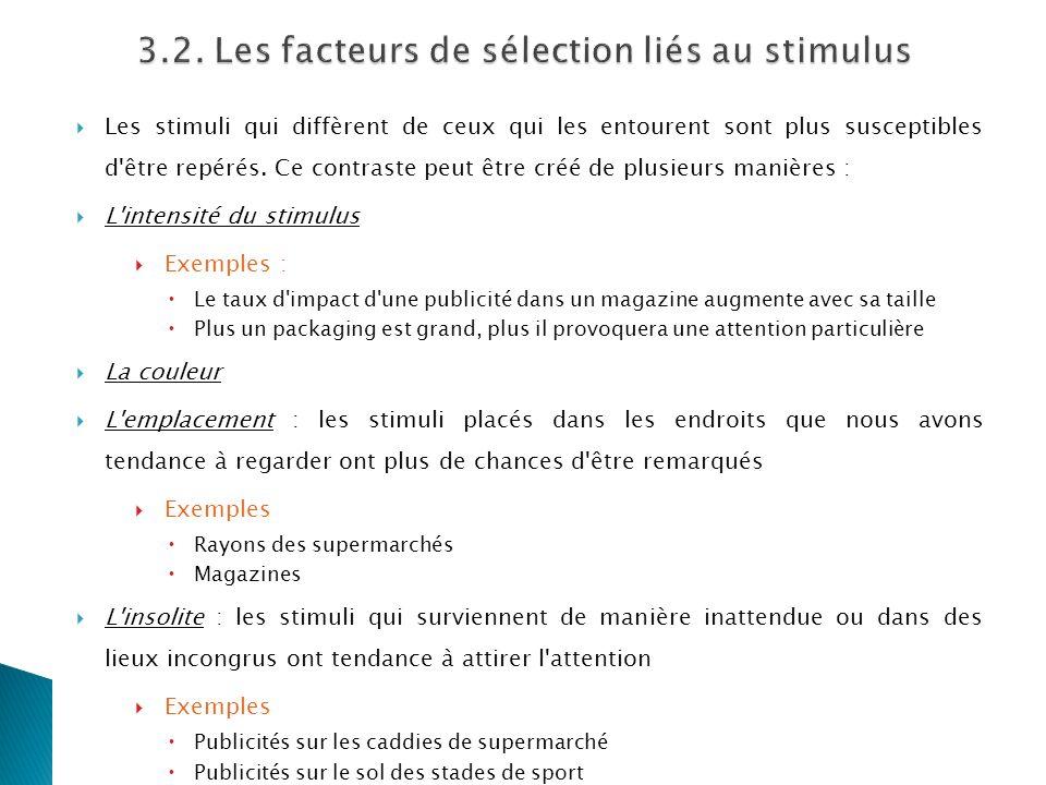 3.2. Les facteurs de sélection liés au stimulus