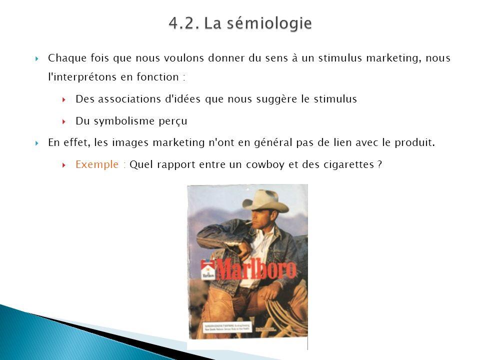 4.2. La sémiologie Chaque fois que nous voulons donner du sens à un stimulus marketing, nous l interprétons en fonction :