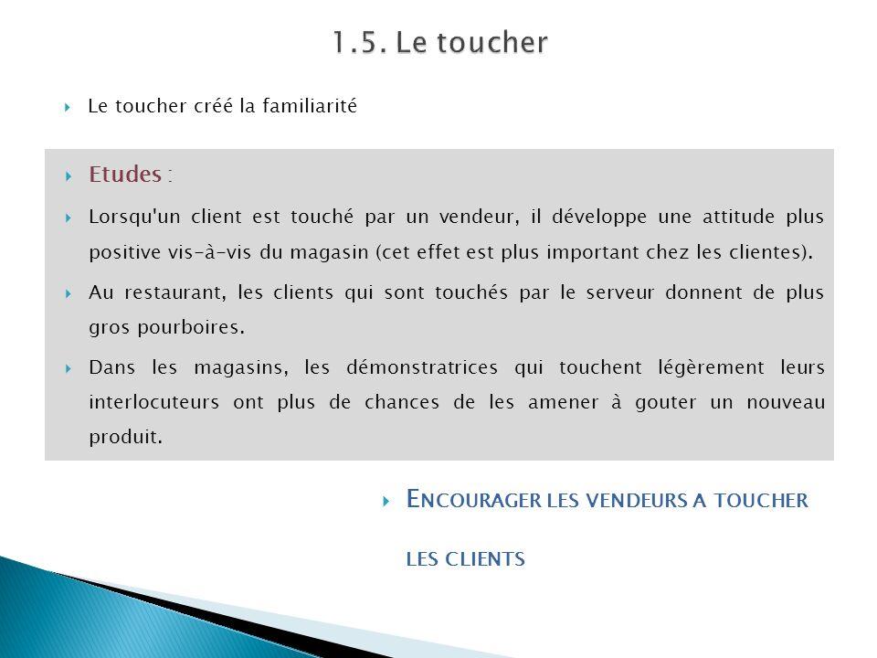 1.5. Le toucher Encourager les vendeurs a toucher les clients Etudes :