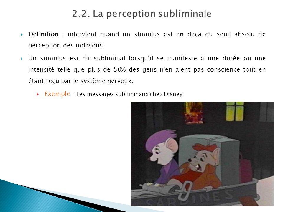 2.2. La perception subliminale