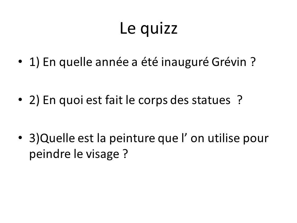Le quizz 1) En quelle année a été inauguré Grévin