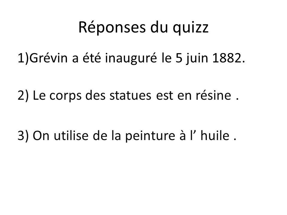 Réponses du quizz 1)Grévin a été inauguré le 5 juin 1882.