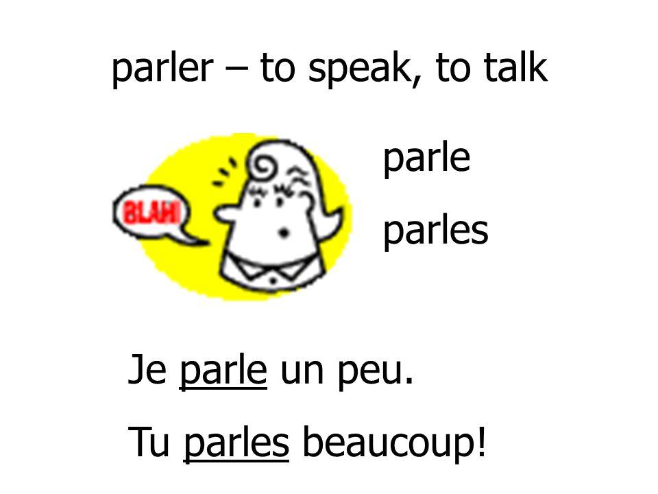 parler – to speak, to talk
