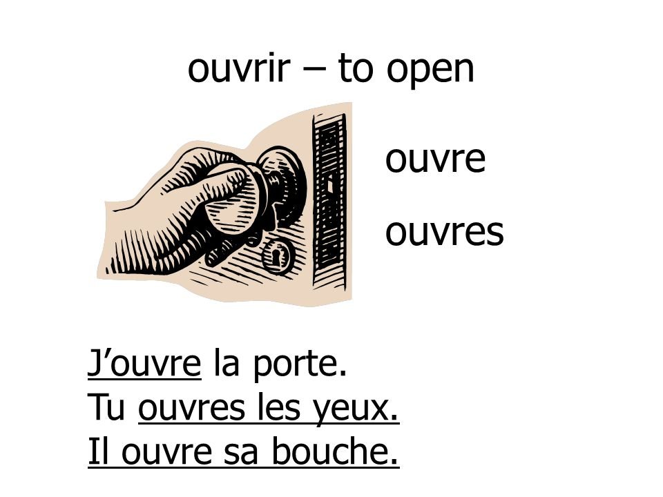 ouvrir – to open ouvre ouvres