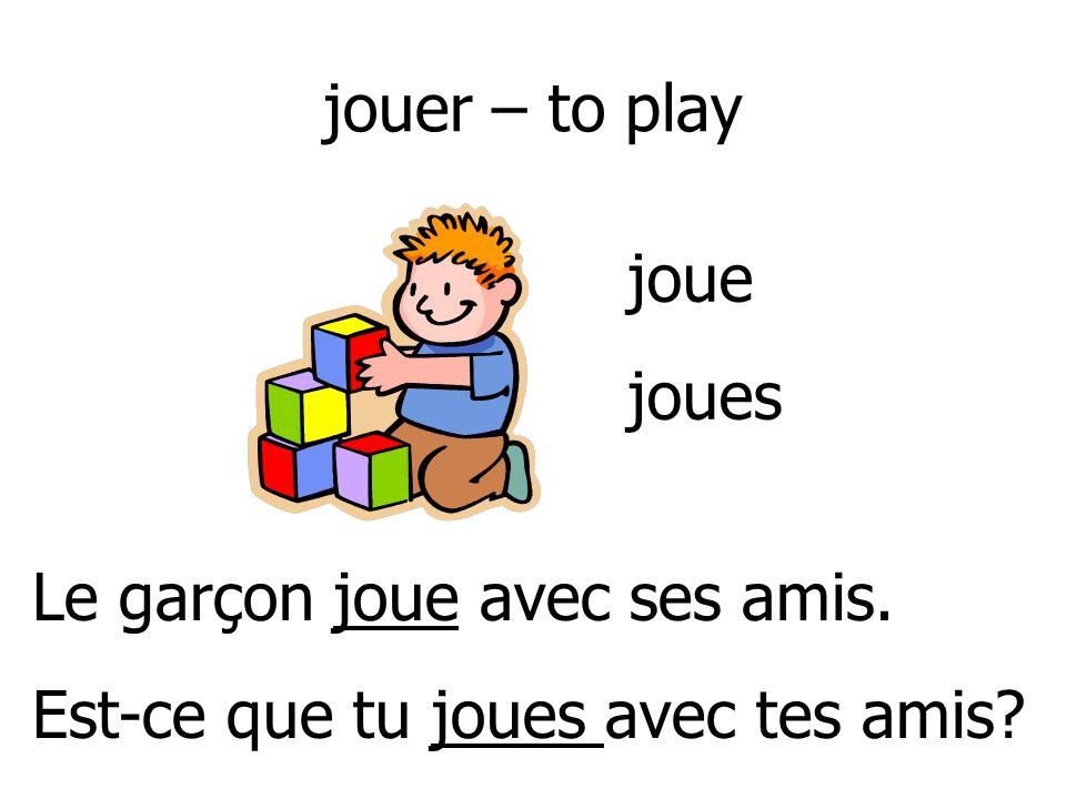 jouer – to play joue joues Le garçon joue avec ses amis. Est-ce que tu joues avec tes amis