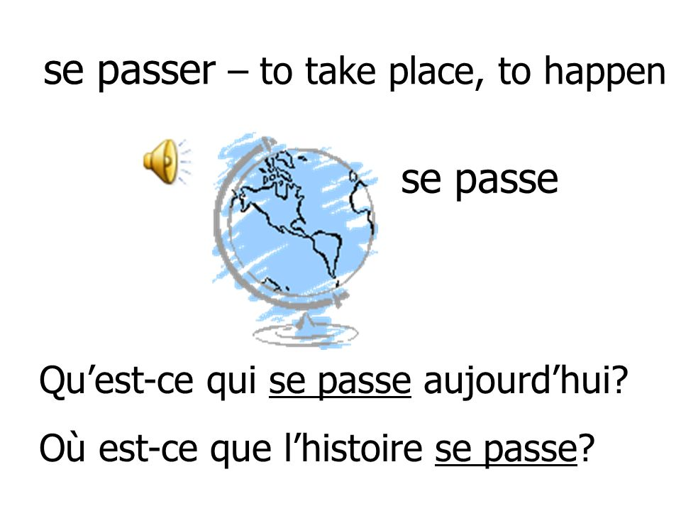 se passer – to take place, to happen