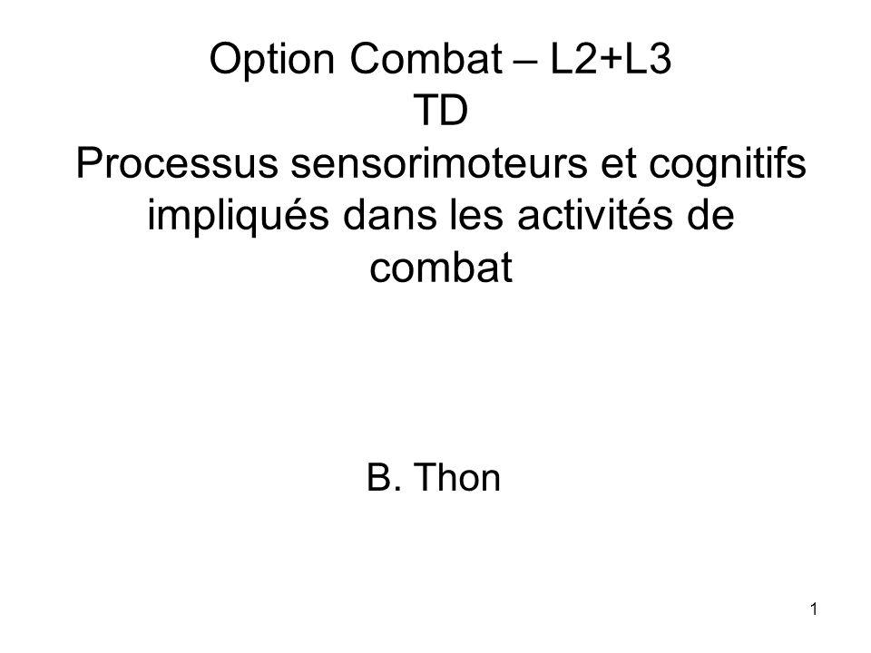 Option Combat – L2+L3 TD Processus sensorimoteurs et cognitifs impliqués dans les activités de combat