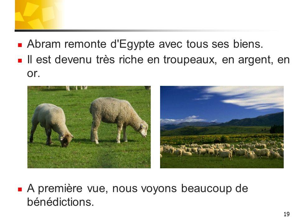 Abram remonte d Egypte avec tous ses biens.