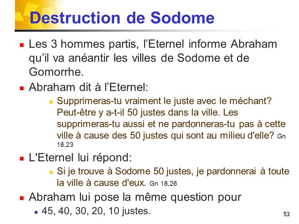 Destruction de Sodome Les 3 hommes partis, l'Eternel informe Abraham qu'il va anéantir les villes de Sodome et de Gomorrhe.