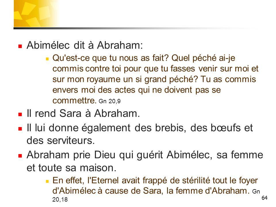 Abimélec dit à Abraham: