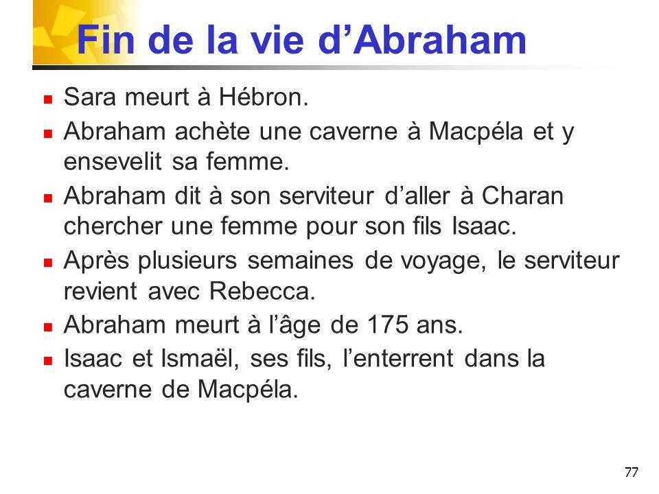Fin de la vie d'Abraham Sara meurt à Hébron.